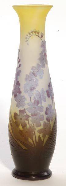 IMAGE: A French Galle cameo vase having a cylindrical form decorated with blue stemmed leafy flowers