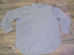 Polo Ralph Lauren Mens Stretch Oxford Shirt 1 XB Big 1XB Large Light Blue  #RalphLauren #Oxford