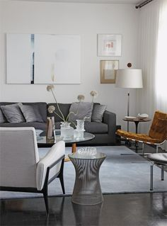 Grey living room with mid century modern chairs