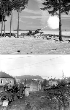 American 155-mm field gun M1 Long Tom fires on German troops in the Ardennes.  A 7th Armored Division antitank gun covers a railroad crossing near Vielsalm, Belgium. Dec., 23, 1944 North Africa, Troops, Division, Belgium, Gun, Battle, German, Fire, Adventure