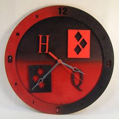 Oh! Mista J! Everyone loves a villain and we created a clock dedicated to everyones favorite bad girl, Harley Quinn. Our black and red Harley Quinn