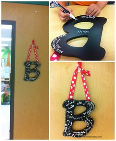 Monogram Door Decor DIY - reinforces the idea of the class as a family and makes a great gift!