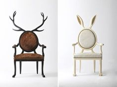 """Merve Kahraman's Hybrid chairs let you take a walk – or should that be a rest? – on the wild side. The handmade chairs are based on the myths of human-animal hybrids, hence the name."""
