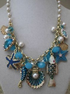 NWT Betsey Johnson Sea Excursion Fish Shell Nautical Beaded Statement Necklace