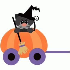 Silhouette Design Store: halloween train car with cat and pumpkin