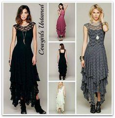 COWGIRL GYPSY DRESS Tiered Lace Cap Sleeve Western Dress - $49.99 XL black dress