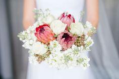 Protea Bouquet   SouthBound Bride   http://www.southboundbride.com/modern-romance-wedding-at-tokara-by-tasha-seccombe   Credit: Tasha Seccombe
