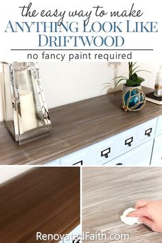 How to Make a DIY Driftwood Finish – Here are a few super easy steps to get a weathered wood faux finish on ANY SURFACE, not just raw wood. This tutorial gives you a Restoration Hardware style on your next furniture makeover with simple latex and glaze. Laminate Furniture, Chalk Paint Furniture, Diy Furniture Projects, Furniture Makeover, Wood Furniture, Furniture Stores, Furniture Removal, Bedroom Furniture, Refinished Furniture