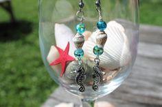 Seahorse Seashell Aquatic Blue Glass Bead by BeadsByLorena on Etsy, $12.99