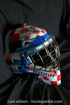 Croation Theme Goalie Mask - Airbrushing by Cam Wilson www.hockeyartist.com