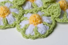 Crochet Baby Blanket Daisy Flowers and Leaves