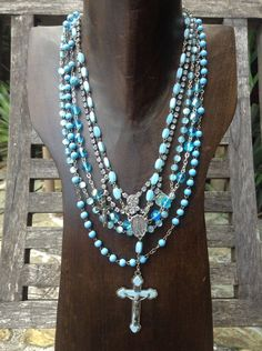 Upcycled Vintage Multi Turquoise Rosary Assemblage Necklace,OOAK,Repurposed,Religious Necklace,Rosary Necklacet on Etsy, $92.00