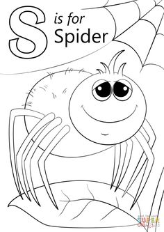 Letter S is for Spider coloring page from Letter S category. Select from 26930 printable crafts of cartoons, nature, animals, Bible and many more.