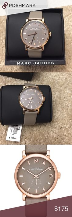 Brand new Marc Jacobs Baker watch with gray strap Brand new 100% authentic Marc Jacobs Baker watch 37mm with gray leather and rose gold tone. Watch still has tag and plastic on the face of the watch. No trades Marc Jacobs Accessories Watches