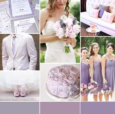 lavender grey wedding inspiration board  created by Canadian Wedding Blog - Champagne Sweets  ( bridesmaids stationary cake shoes flowers tux decor )