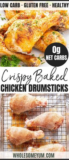 Feb 2020 - Easy Crispy Baked Chicken Legs Drumsticks - This easy oven roasted chicken drumsticks recipe will make SUPER crispy baked chicken legs that turn out perfectly every time! It's the only guide for how to bake chicken legs you'll ever need. Crispy Baked Chicken Legs, Oven Baked Chicken Legs, Perfect Baked Chicken, Baked Chicken Drumsticks, Baked Chicken Breast, Bake Chicken Leg Recipe, Oven Chicken Recipes, Keto Chicken, Healthy Chicken