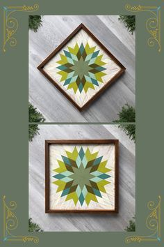 Easily highlight any wall space in your home with a colorful barn quilt and wood wall art. These wooden wall hangings are versatile in that you can hang them as a square or on the diagonal and get a completely different look. Featuring a traditional star quilt block pattern, the colors of this particular mosaic piece blend green and turquoise/teal together. They are complimented by an off-white background and warm color of the cedar framing. Visit Crow Bar D'signs to shop.