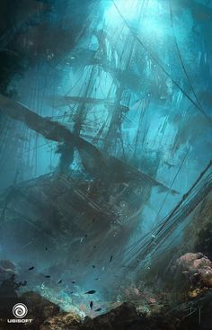Assassin's Creed IV: Black Flag - Underwater Wreck, Donglu Yu on ArtStation at http://www.artstation.com/artwork/assassin-s-creed-iv-black-flag-underwater-wreck-f6f18b34-3f7a-4abc-9819-54a19179cfe0