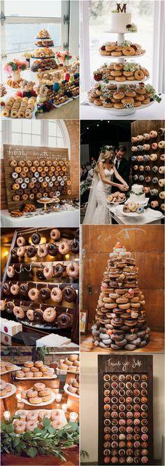 Donut tower and donut wedding wall ideas #weddings #cakes #donuts #weddingreceptions #weddingideas ❤️ http://www.rosesandrings.com/wedding-donut-bar-ideas/