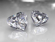 Heart shape brilliant diamond stones - 3d