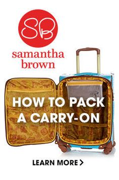 From chic luggage to keep you organized to accessories for elegance and comfort when you're on the move, Samantha Brown makes traveling easy and stylish. Shop Samantha Brown at H Carry On Packing, Packing Tips For Travel, Packing Ideas, Travel Hacks, Travel Ideas, Cruise Tips, Cruise Travel, Travel Necessities, Travel Essentials