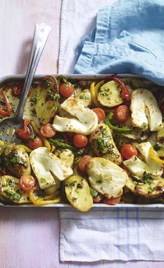 Roasted halloumi, potatoes and peppers with basil dressing