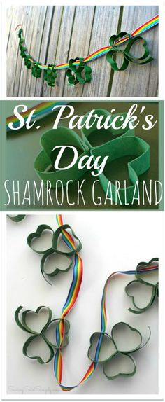Easy St. Patrick's Day Kids Craft | Shamrock Garland - make this easy garland for St. Patrick's Day, made with toilet paper rolls