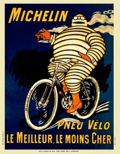 Michelin by O'Gallop 1903 France - Beautiful Vintage Poster Reproduction. This vertical French transportation poster features a man made of tires riding a bike smoking a cigar with blue and black backgrounds. Bike Poster, Poster S, Poster Prints, Art Posters, Poster Ideas, Art Prints, Vintage Bicycle Art, Vintage Bicycles, Retro Bike