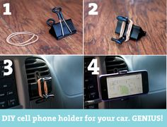 GENIUS DIY cell phone holder for your car...make it in about 30 seconds and save money! #cellphone #diy #car Phone Holder For Car, Iphone Holder, Diy Cell Phone Stand, Car Cleaning Hacks, Car Hacks, Hacks Diy, Smartphone Gps, Smartphone Holder, Binder Clips Hacks
