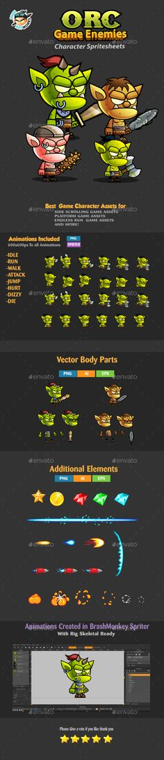 Orcs 2D Game Character Sprites 240  Download Here :   https://graphicriver.net/item/orcs-2d-game-character-sprites-240/17157341?ref=iDoodle