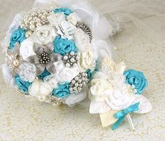 Brooch Bouquet Wedding Bouquet Bridal Bouquet in Ivory by SolBijou