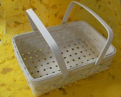 Pannier Basket 輸入品 ホワイトバスケット アンティーク仕上げ クリーム色 インテリア 雑貨 家具 Antique ¥1200yen 〆10月22日