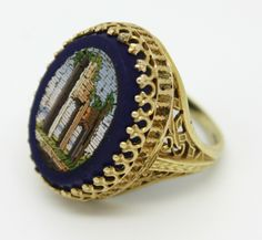 """Victorian """"Roman Ruins"""" Micromosaic ring in 18K (and Lapis) with an intricate filigree setting"""