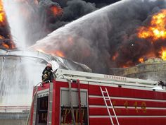 Firefighters battle a chemical fire after an explosion at a factory in Zhangzhou, China.  AFP/Getty Images