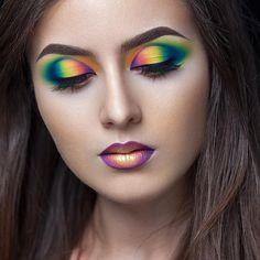 Neon Multicolor Make-up, rainbow makeup, Makeup Eye Looks, Eye Makeup Art, Crazy Makeup, Eyeshadow Makeup, Crazy Eyeshadow, Fairy Makeup, Eyebrow Makeup, Eyeshadows, Makeup Inspo