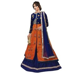 Buy Blue & Orange Heavy Embroidery Mirror Work Semi-Stiched Indo Western Suit Online at cheap prices from Shopkio.com: India`s best online shoping site