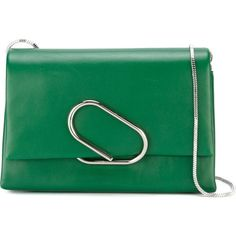 3.1 Phillip Lim Alix Shoulder Bag ($1,022) ❤ liked on Polyvore featuring bags, handbags, shoulder bags, green, chain-strap handbags, green purse, shoulder hand bags, chain strap purse and chain shoulder bag