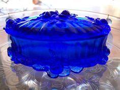 Fenton trinket box | Fenton glass blue rose jewelry box