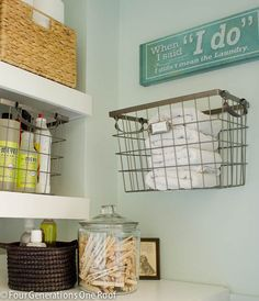 Budget laundry room reveal {laundry closet} + floating shelves tutorial