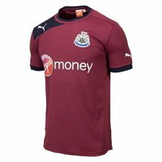 Newcastle United Away Football Shirt 2012-13 by PUMA. $69.11. Newcastle United soccer team. Brand-Puma. 2011-12. This Shirt Has Official Premier League Patches On The Sleeves The Newcastle Away Shirt for the 2012-2013 is now available. The shirt is burgundy in colour with short sleeves. The shirt has a black trim around the bottom of the sleeves and the collar. The right shoulder has a black patch with the Puma logo stitched in white. Across the front of the shirt the mai...