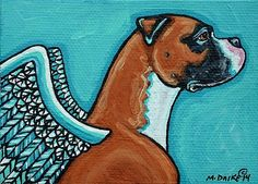 Angel Boxer 1 - by Melinda Dalke from Animal Wildlife Art Gallery Boxer Breed, Boxer Rescue, Boxer And Baby, Boxer Love, Akita, Dog Memorial Tattoos, Handmade Dog Collars, Pet Loss, Dog Paintings