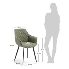 Kave Home Eetkamerstoel 'Amira', kleur groen Cafe Floor Plan, Luxury Furniture, Furniture Design, Sofa Dimension, Office Sofa, Baby Room Decor, My Room, Upholstery, Dining Chairs