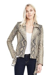 Limited-Edition Python Print Leather Moto Jacket