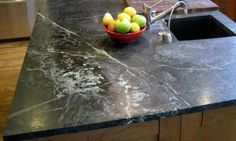Oiled soapstone showing the light gray veins typical of the material. This eye-catching installation by Shadley's Soapstone. Soapstone Countertops, Butcher Block Countertops, Kitchen Countertops, Rental Kitchen, Kitchen On A Budget, Kitchen Decor, Kitchen Ideas, Kitchen And Bath Remodeling, Kitchen Remodel