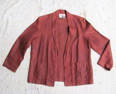 vintage 1980s rust slubby linen jacket l by MouseTrapVintage, $64.00