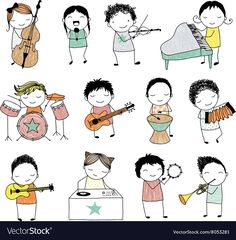 collection of cute doodle kids playing different musical instruments Doodle Play, Music Doodle, Doodle Kids, Musical Instruments Drawing, Music Instruments Diy, Doodles Bonitos, Musik Illustration, Music Crafts, Music For Kids