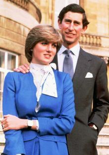 Prince Charles and Lady Diana at the time of their engagement in 1981. Photo by Ron Bell. This image was used around the world and printed on memorabilia.