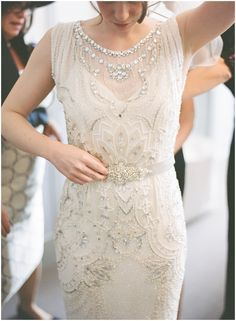 """Ellie looks every inch a Hollywood film star in her beautiful beaded """"Esme"""" Jenny Packham fitted gown, and seemed to tie in so perfectly with all the other elements of the day. - London Bride"""