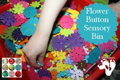 Flower Button Sensory Bin - Linky for Button Sensory Bins - 3Dinosaurs.com
