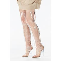 YEEZY Thigh High Boots ($1,123) ❤ liked on Polyvore featuring shoes, boots, thigh high boots, transparent boots, thigh boots, above-knee boots and over-the-knee boots